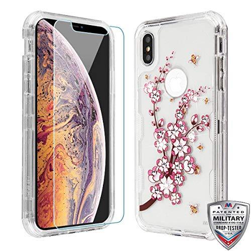 Case+Tempered_Glass + Stylus-Eingabestift für Apple iPhone XS Max/XS Plus MYBAT Transparent/Pink Spring Flowers und Yellow Bees Samsung Pink Transparent Faceplates