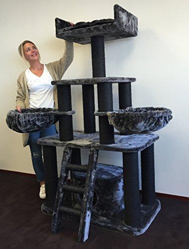 Kratzbaum große katze XXL Black Panther Dunkel Grau 12cmØ Kratzstämme 100x60x173cm und ca 62KG. Katzenkratzbaum. Kratzbaum Speziell für große und schwere Katzen. Sehr Stabil. Qualitätsproduktion von RHRQuality