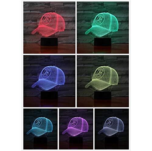 Oakland Leichtathletik Baseball Cup 3D LED Lampe Nacht Touch 7 Farbwechsel Kinder Geschenk USB Nachtlicht Dekor