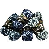 trendmarkt24 Wolle-Set-Mix ✓ Blautöne 4fädig ✓ Woll-Paket insg. 300g ✓ 75% Schurwolle 25% Polyamid ✓ Oeko-TEX Standard100 Ökotex ✓ Socken-Wolle 4fach ✓ Stumpfwolle Strickwolle Mix Sparpaket 602018