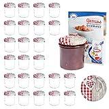 MamboCat 25er 350 ml Sturzglas-Set | Einmachgläser + Twist-Off-Deckel Holz-Herz rotkariert + GRATIS Rezeptheft | einkochen & konservieren | Vorratsgläser | backofengeeignet