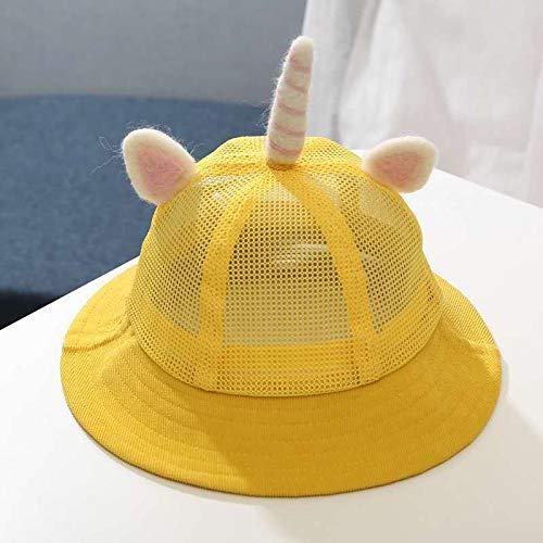 mlpnko Kinder Hut Baumwolle Cartoon Kind Fischer Hut Baby Visier Yellow Net # 848-50CM
