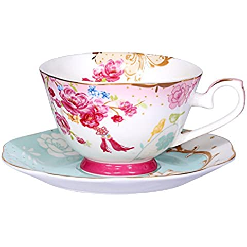 AWHOME Royal Style Bone China Glaze Color Red Formal Teacup and Saucer Flower Set (cup05) by AWHOME