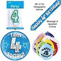 4th Birthday Party Set Age 4 Boys (Banner Balloons, Candle, Badge)