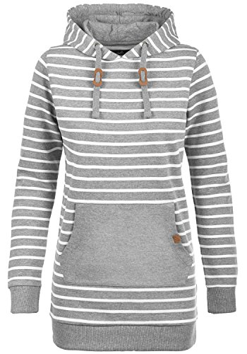 Blend She Cloey Damen Kapuzenpullover Hoodie Long Sweatshirt mit Fleece-Innenseite Longline Sweat-Kleid aus Hochwertiger Baumwollmischung, Größe:M, Farbe:Zink Mix (70815)