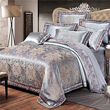 AIURLIFE Lujo del telar jacquar del algodón de seda mezcla 4 piezas edredón cama hoja almohada caso portadas , queen
