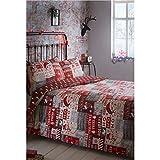 eLITe Portfolio Bettwäsche-Set, Weihnachts-Design, Bettbezug und 2Kissenbezüge, Rot, Doppelbett-Größe