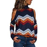 HWTOP T Shirt Damenmode Bluse Kalte Schulter Geometrischer Blumendruck Jumper Top