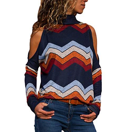 MEIbax Damen Kalte Schulter Bluse Geometrischer Blumendruck Jumper Tops Shirt ()