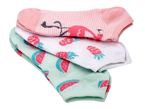 Unbekannt 3 Paar Socken Kinder Sneaker Motivsocken Kurzsocken Bunt Kindersocken Mädchen, Thema:Flamingo-Frucht