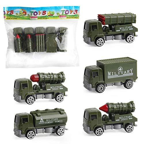 zaote 5 Autos in 1 Satz Metalldruckguss Spielset Spielzeug Fahrzeuglegierung Automodelle Spielzeug Militärhubschrauber Tankwagen Verschiedene Amy Cars Spielzeug für Kinder Kleinkinder Easy to use