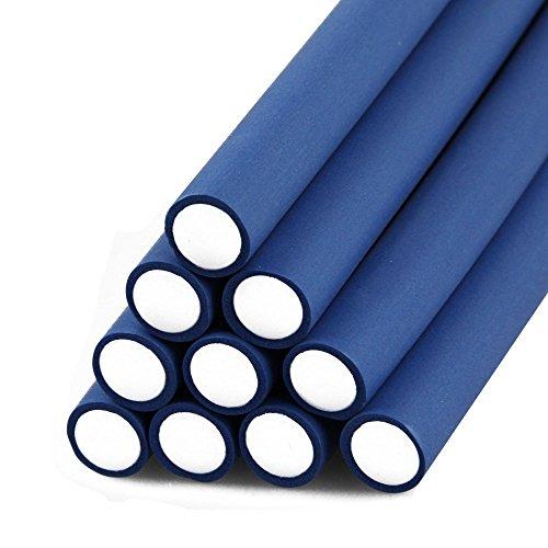 ECENCE 10 Papilotten Set Papilottenwickler Dauerwelle-n Flex-Wickler flexibel Durchmesser Ø 14mm x 240mm Länge Blau 81040408