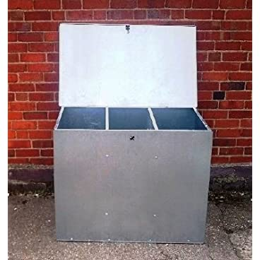 LARGE GALVANISED FEED BIN WITH THREE COMPARMENTS