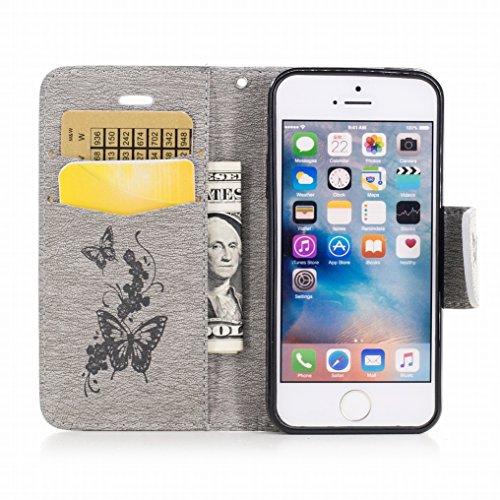 Custodia Apple iPhone 5s / iPhone SE Cover, Ougger Farfalla Stampa Portafoglio PU Pelle Magnetico Morbido Silicone Flip Bumper Protettivo Gomma Shell Borsa Custodie con Slot per Schede (Grigio) Grigio