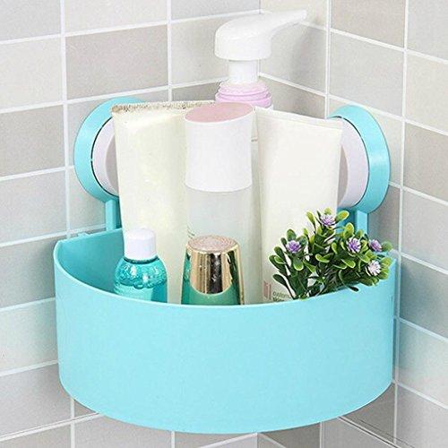 Sensail Etagère de Douche, Ventouse en plastique de salle de bains de cuisine d'angle de support de stockage de support d'étagère de support (Bleu, 15X15X7.5cm)