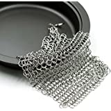 Cast Iron Cleaner, MroTech 7X7 inch Premium Stainless Steel Chainmail Scrubber with Ring for Cast Iron Pans &...