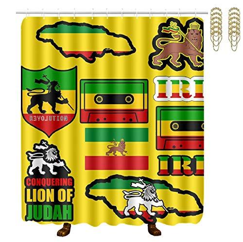 Setyserytu Duschvorhang,Waterproof Fabric Bath Curtains Rasta Lion Jamaican Reggae Flag Waterproof Bathroom Shower Curtain with Gold Hooks 70x70 Inch Spa Bathroom Accessories Decor Art