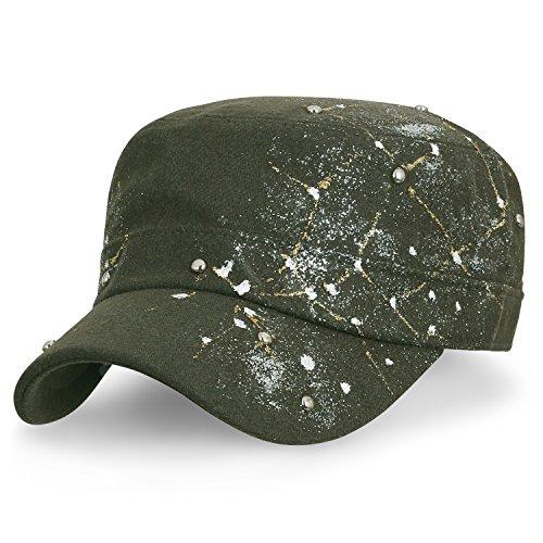 ililily Constellation Studs Wollmischung Militär Kadett Cap Glitzer Armee Stil Hut , Olive Green (Militär Hut Olive)