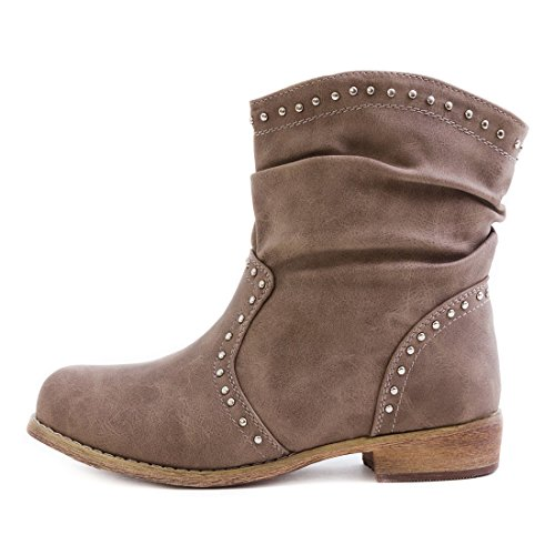 Trendige Damen Schlupf Stiefeletten Stiefel Nieten Schuhe mit Kunstfell Khaki