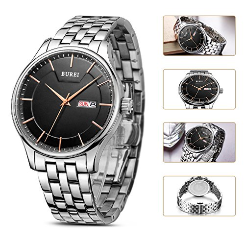 BUREI-Mens-Quartz-Wrist-Watches-with-Black-Dial-Day-and-Date-Calendar-Stainless-Steel-Band