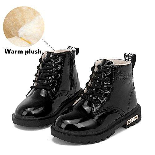 Baby Schuhe, Chickwin Baby Stiefe Wasserdicht Kinderschuhe Unisex Weich Und Bequem Rutschfest Warme weiche Winterschuhe Leder Schneestiefel (23 / Maß Innen (cm) 14.5, Schwarz) (Air Jordans Schuhe Für Jungen-größe 9)