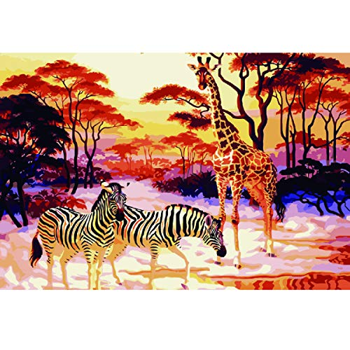 MXJSUA Ölgemälde nach Zahlen Set für Erwachsene, Kinder, mit Pinsel, Acryl-Pigmente, komplettes Set, Zubehör, Zebra-Giraffe, 40,6 x 50,8 cm