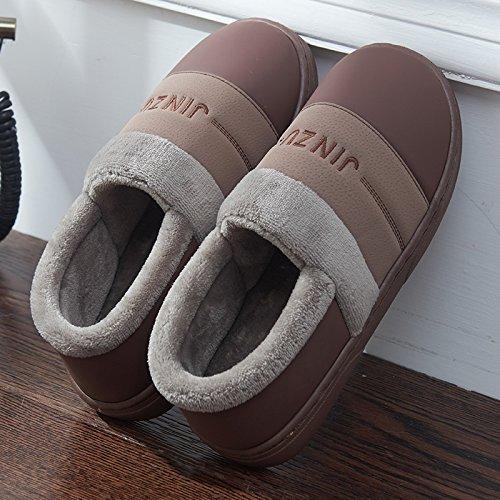 HOMEE Automne Et Hiver Hommes Pantoufles de Coton Et Sacs à Main avec Intérieur Maison Chaude Anti-Dérapant Épais Couple Imperméable à LEau Café