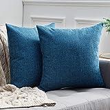 MIULEE Cojines Lumbar Decorativos Fundas De Cojines De Lino De Estilo De Casa Rural Fundas De Almohadas De Decoración Vintage para Sofá 18 X 18 Pulgadas 45 X 45 Cm 2 Piezas Azul