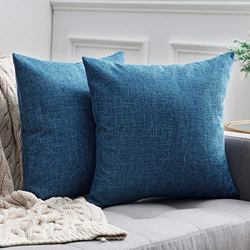 MIULEE 2er Pack Leinenoptik Home Dekorative Kissenbezug Kissenhülle Kissenbezug für Sofa Schlafzimmer Auto mit Reißverschlüsse 50x50 cm Blau (Dekorative Kissenbezug Blau)