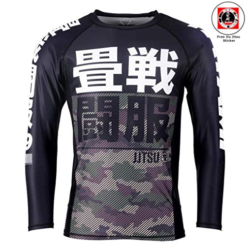 Tatami Rashguard Essential Camo Grün/Schwarz - Langarm - Herren Rash Guard für Jiu Jitsu, Fitness, Grappling und MMA - Kompressions Shirt mit 4-Wege Stretch (L) -