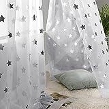 Deconovo Voile Vorhänge Ösen Transparent Gardinen Ösen Vorhänge Kinderzimmer 245x140 cm Weiß Großes Stern 2er Set