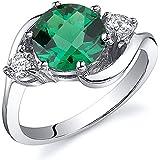 Revoni 3 Stone Design 1.75 carats Emerald Ring in Sterling Silver Rhodium Finish