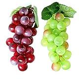 Di Frutta 2 Mazzo di Morbida Plastica Artificiale Realistica Simulazione Verde e Viola uva Modello Frutta Finta per Casa Decoration