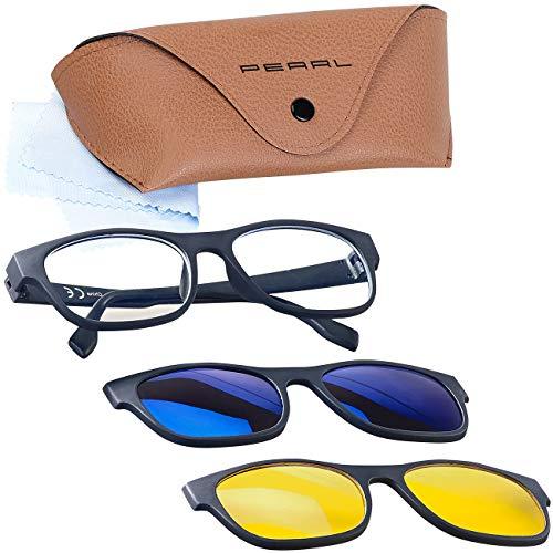 PEARL Blaulichtfilterbrille: 3in1-Bildschirm-Brille mit magnetischem Sonnen- und Nachtsicht-Aufsatz (Nachtsichtbrille polarisiert)
