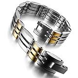 MunkiMix Acier Inoxydable Bracelet Lien Poignet Argent Or Poli Homme