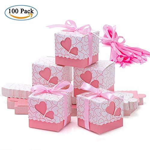 Scatole portaconfetti – meersee 100 pz scatole portaconfetti di carta bomboniere regalo segnaposti decorazioni per festa matrimonio battesimo compleanno (rosa)