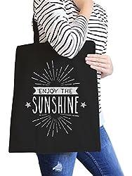 Enjoy The Sunshine Black Cute Summer Heavy Cotton Canvas Tote Bag