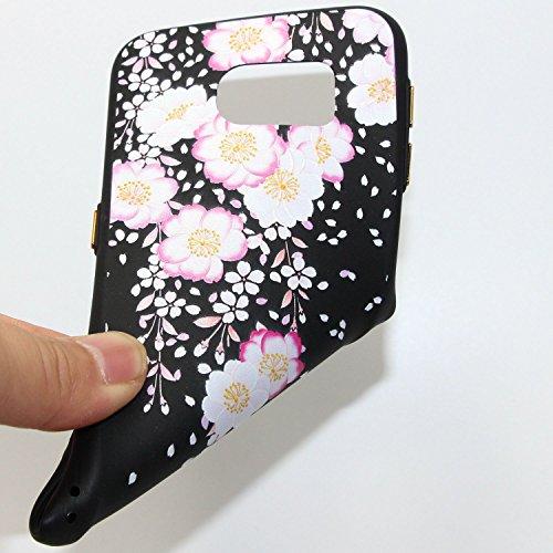 Coque Galaxy S6, Étui Galaxy S6, ISAKEN Coque Samsung Galaxy S6 - Étui Housse Téléphone Étui TPU Silicone Souple Coque Ultra Mince Gel Doux Housse Motif Arrière Case Antichoc Doux Durable Résistant Au fleur D