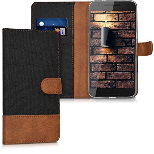 kwmobile Huawei Google Nexus 6P Hülle - Kunstleder Wallet Case für Huawei Google Nexus 6P mit Kartenfächern und Stand