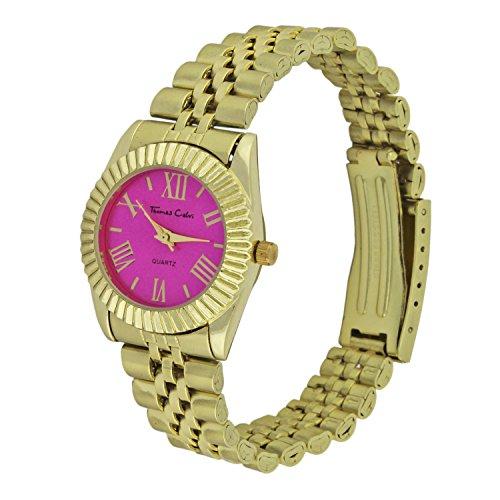 thomas-calvi-womens-quartz-watch-with-pink-dial-analogue-display-and-gold-bracelet-tcw98-d