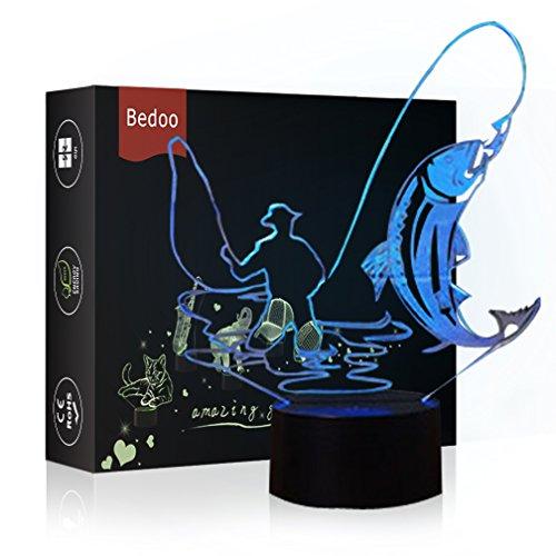 HeXie LED Nacht Lichter 3D Illusion Nachttisch Lampe 7 Farben ändern Schlafen Beleuchtung Smart Touch Button Nette Geschenk Warming präsentieren kreative Dekoration ideale Kunst Handwerk (Angeln)