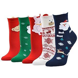 MYONA 5 Pares Calcetines de Navidad para Mujer Hombre, Calcetines Deportivos Mujer Hombre con Estampado de 3D Animal de Dibujos Animados Reno de Santa Claus Snowman Calentar Calcetines Unisex