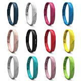 iFeeker Replacement Wristband Soft Silicone Metal Clasp Watch Wrist Strap Watch Band Holder Case Pouch for 2016 Fitbit Flex 2 Fitness Activity Tracker(Small or Large