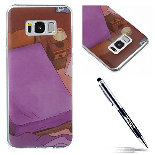 JAWSEU Coque pour Samsung Galaxy S8 Plus Tpu,Samsung Galaxy S8 Plus Silicone Etui Ultra Slim,Samsung Galaxy S8 Plus Soft Cover Proective Case,Créatif Neuf Design Funny Mignon Lovely Coloré Cartoon Animal Pattern Femme Homme TPU Case Ultra Mince Doux Gel Etui Flexible Souple Coque en Silicone Transparent Caoutchouc Bumper Protecteur Housse Etui pour Samsung Galaxy S8 Plus+1*Noir Stylo Paillettes-Lit