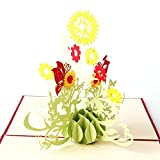 Hergon Pop-Up Karte,15 * 15CM-Sun Flower 3 D Hochzeitskarte, Liebe, Hochzeit Einladung, Verlobungskarte, Valentinstag, Liebespaar auf Schaukel, Geburtstagskarte