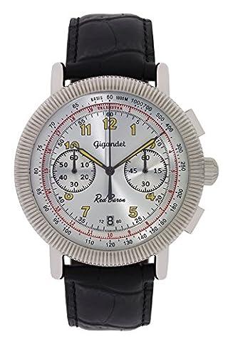 Gigandet Quarz Herren-Armbanduhr Red Baron IV Chronograph Uhr Datum Analog Lederarmband Silber Schwarz G19-006