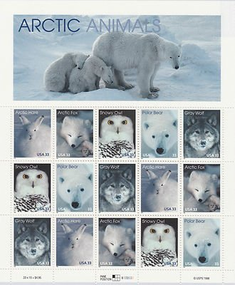 Arctic Animals: Arctic Hare, Arctic Fox, Snowy Owl, Polar Bear, and Gray Wolf, Full Sheet of 15 x 33-Cent Postage Stamps, USA 1999, Scott 3288-92 by USPS