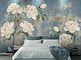 Yosot 3D Tapete Murals Vintage Aquarell Blume Hintergrund Wand Handgemalte Ölgemälde Weiße Rosen 3D Tapete-140cmx100cm
