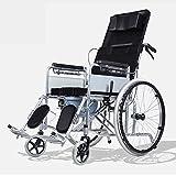 Leggero pieghevole regolabile sedia a rotelle di guida medica, completa reclinabile sedia a rotelle piccolo WC anziani disabili Walking trolley