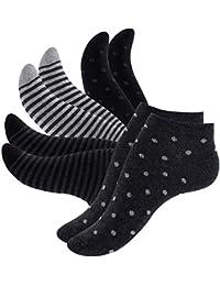 8 Paar Damen Sneakersocken Füßlinge mehrfarbig mit Streifen, Punkte und Herzen